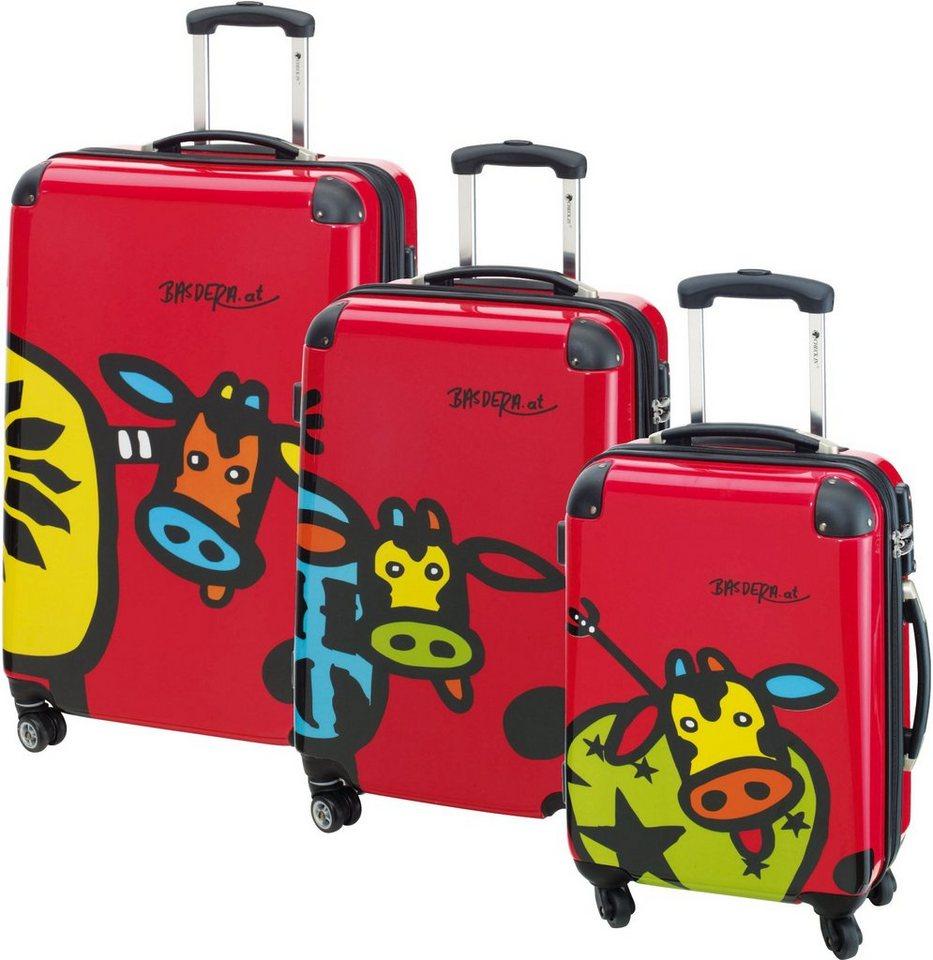 CHECK.IN® Hartschalentrolley Set mit 4 Rollen, 3tlg., »Kuhliane & Familie, rot« in rot