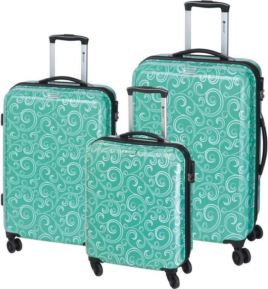 CHECK.IN® Hartschalentrolley Set mit 4 Rollen, 3tlg., »Bombay« in grün