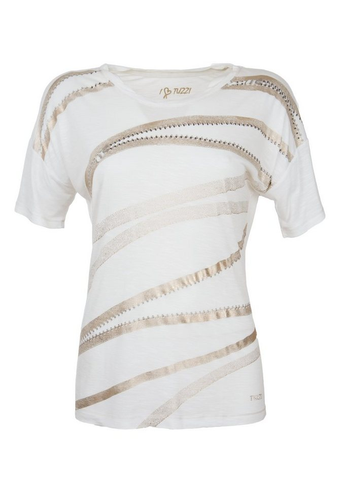 TUZZI Shirt mit Zipper Print in offwhite-figured