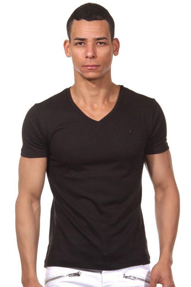 MCL T-Shirt V-Ausschnitt in schwarz