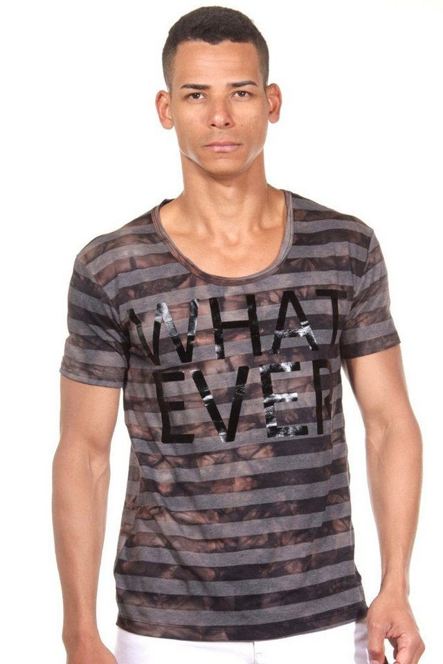 CATCH T-Shirt Rundhals in schwarz/grau