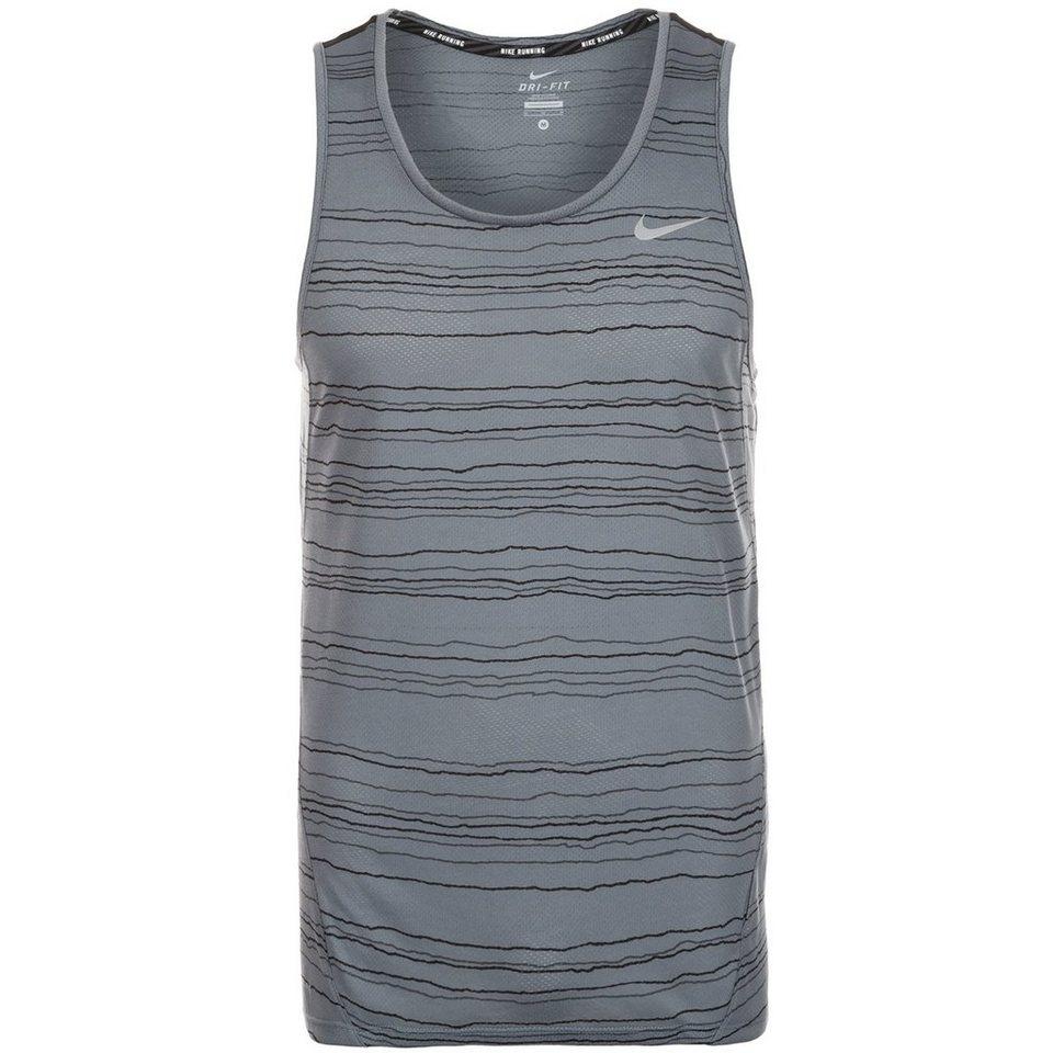 NIKE Dri-FIT Cool Tailwind Stripe Lauftank Herren in grau / silber