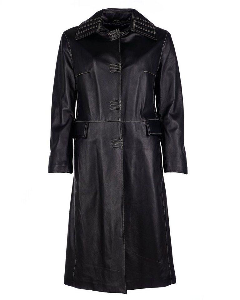 JCC Ledermantel, Damen Trens-1 in schwarz