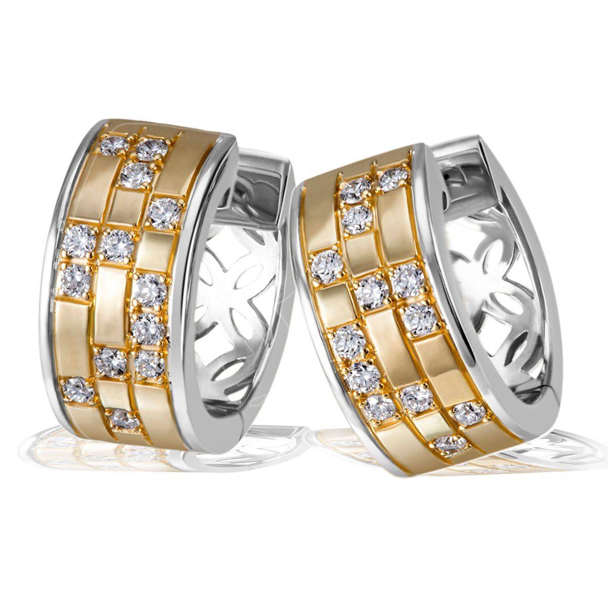 goldmaid Paar Creolen 925/- Sterlingsilber teilweise gelb vergoldet 26 we