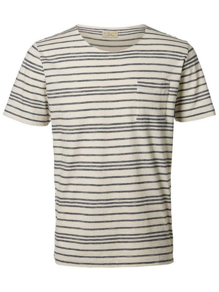 Selected Rundausschnitt- T-Shirt in Total Eclipse