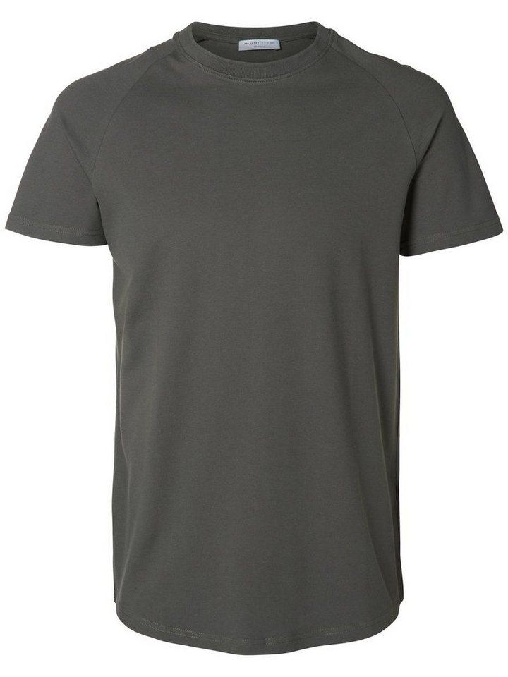Selected Rundausschnitt- T-Shirt in Dark Shadow