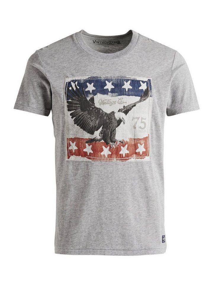 Jack & Jones Patch-Artwork T-Shirt in Light Grey Melange