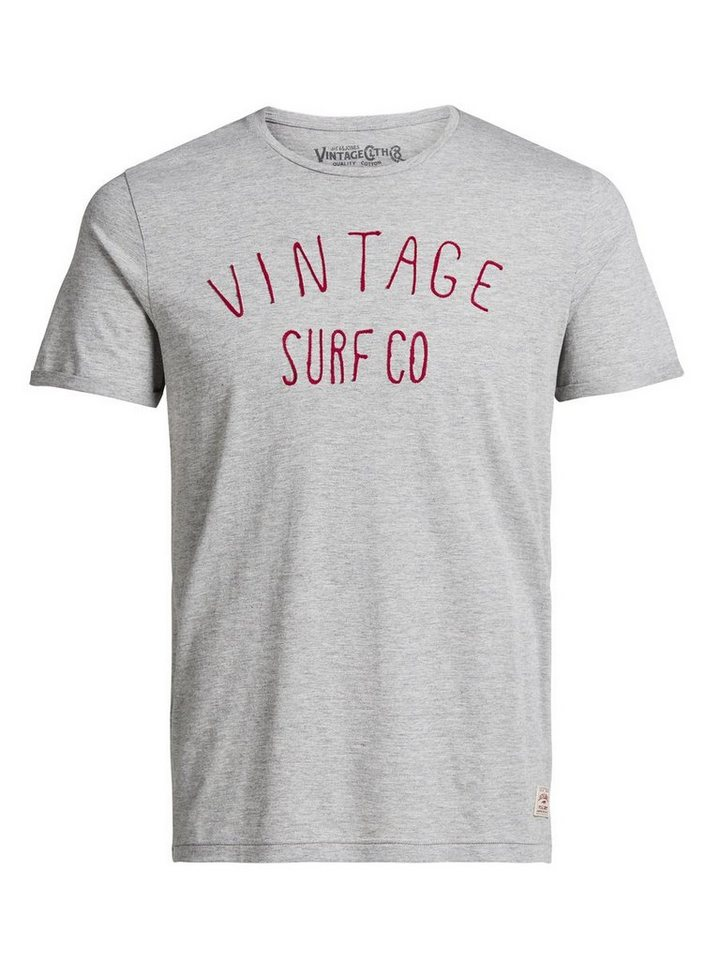 Jack & Jones Stickereidetail- T-Shirt in Cool Grey