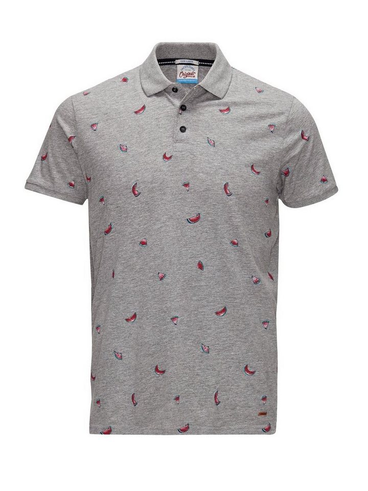 Jack & Jones Komplett bedrucktes Poloshirt in Light Grey Melange