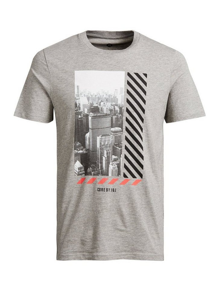 Jack & Jones Grafik-Fotoprint- T-Shirt in Light Grey Melange