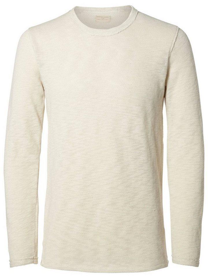 Selected Crew-Neck- Sweatshirt in Bone White