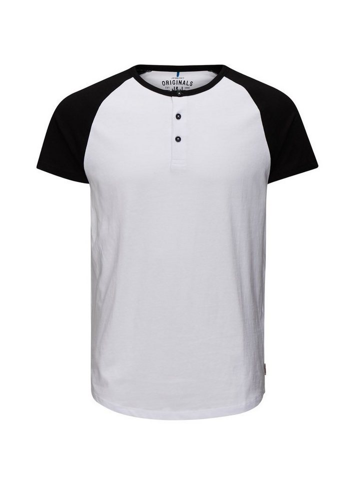 Jack & Jones Granddad- T-Shirt in Black