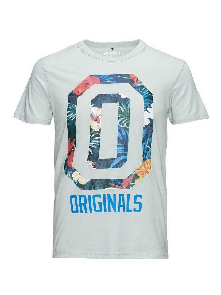 Jack & Jones Blumengestreiftes T-Shirt in Surf Spray
