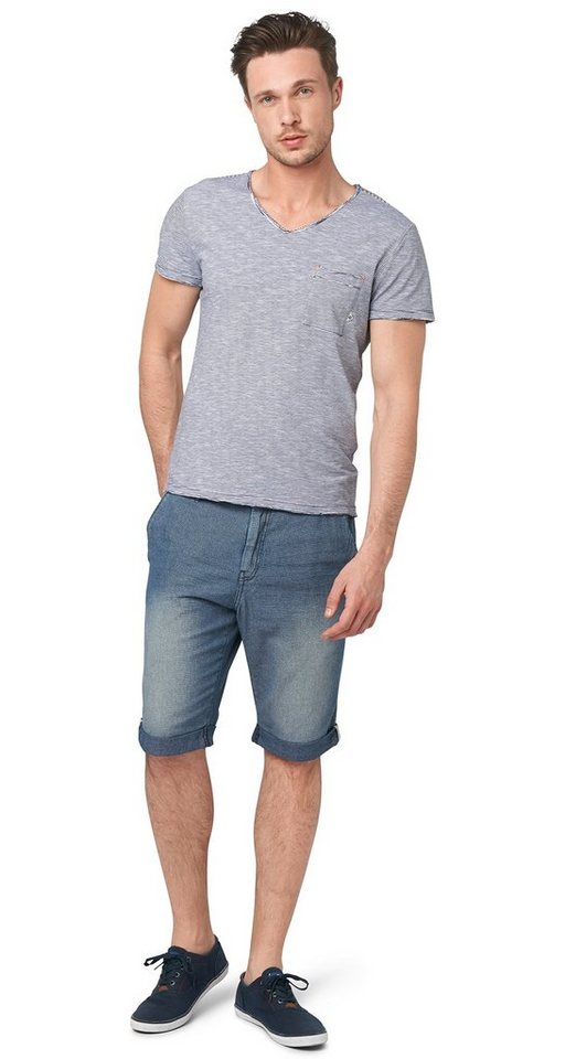 TOM TAILOR Shorts »Jeans-Bermuda mit Struktur« in mid stone wash denim