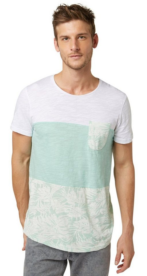 TOM TAILOR DENIM T-Shirt »Stoffmix-Shirt mit Muster« in calypso light green