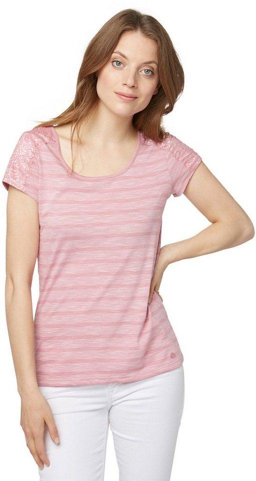 TOM TAILOR T-Shirt »Streifen-Shirt mit Spitzen-Detail« in Charming Mauve