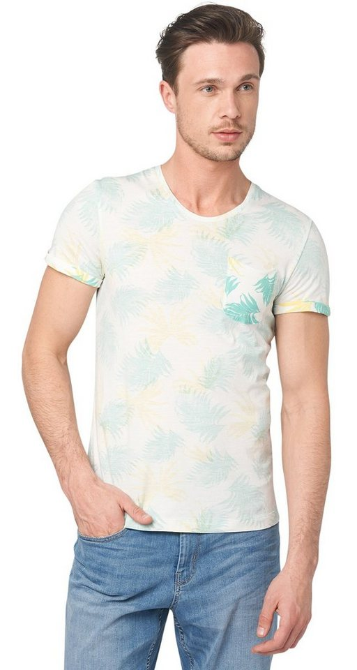 TOM TAILOR T-Shirt »allover print tee« in teal aqua