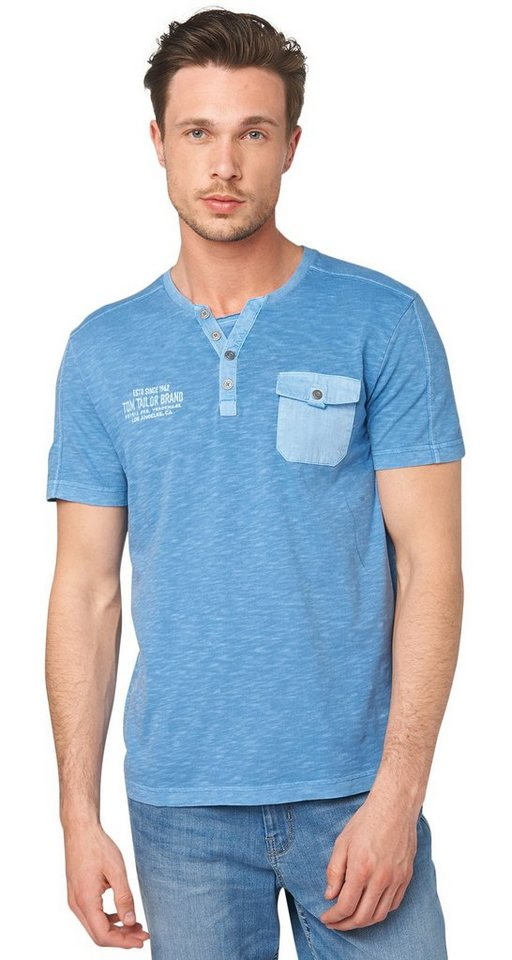 TOM TAILOR T-Shirt »dyed serafino« in even blue