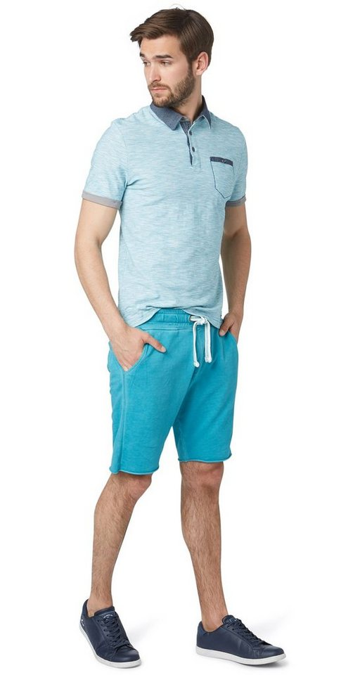 TOM TAILOR Hose »overdyed sweat shorts« in Teal Blue