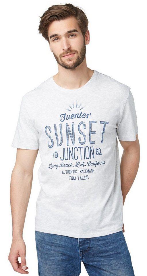 TOM TAILOR T-Shirt »T-Shirt mit sommerlichem Schriftzug« in gray beige melange