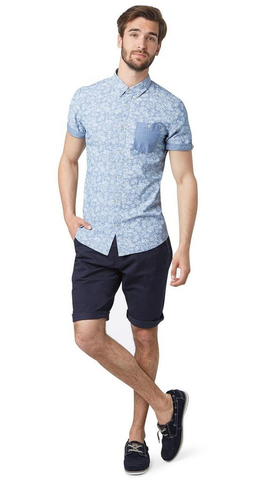 TOM TAILOR Shorts »Chino-Bermuda mit Paspel-Detail« in knitted navy