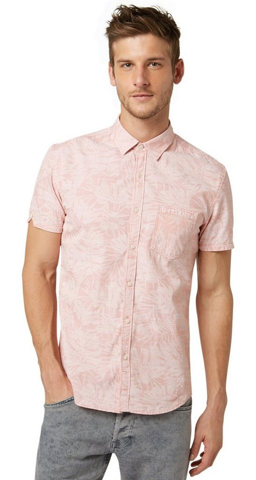 TOM TAILOR DENIM Hemd »printed chambray shirt« in dusty salmon red
