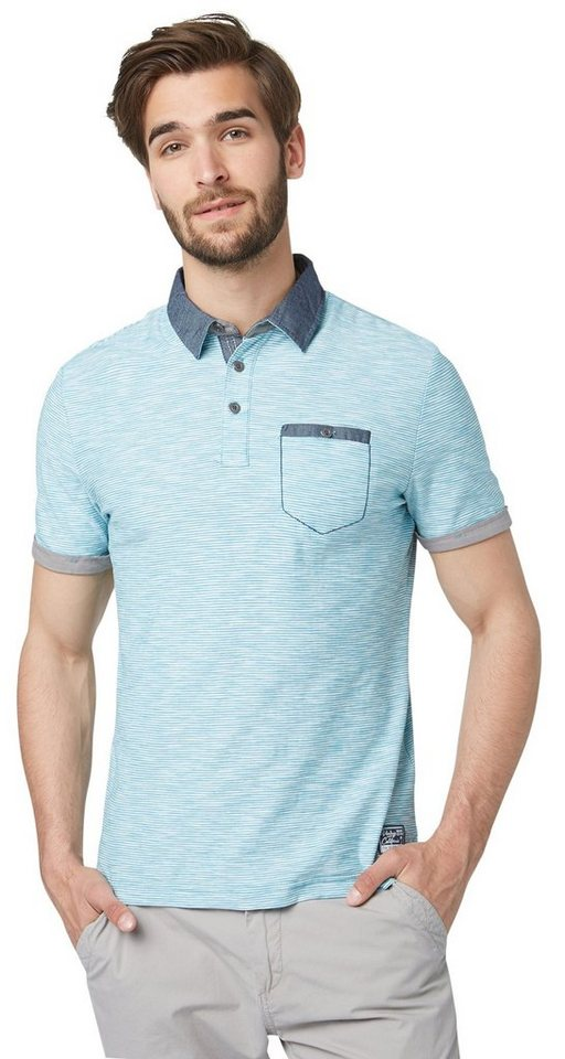 TOM TAILOR Poloshirt »Ringel-Polo mit Details« in Teal Blue
