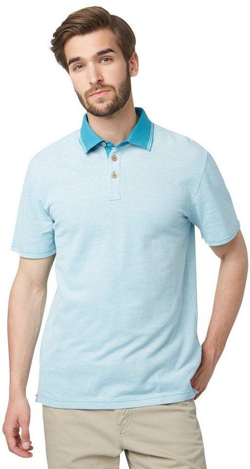TOM TAILOR Poloshirt »Piquè Polo-Shirt in Melange-Optik« in Teal Blue