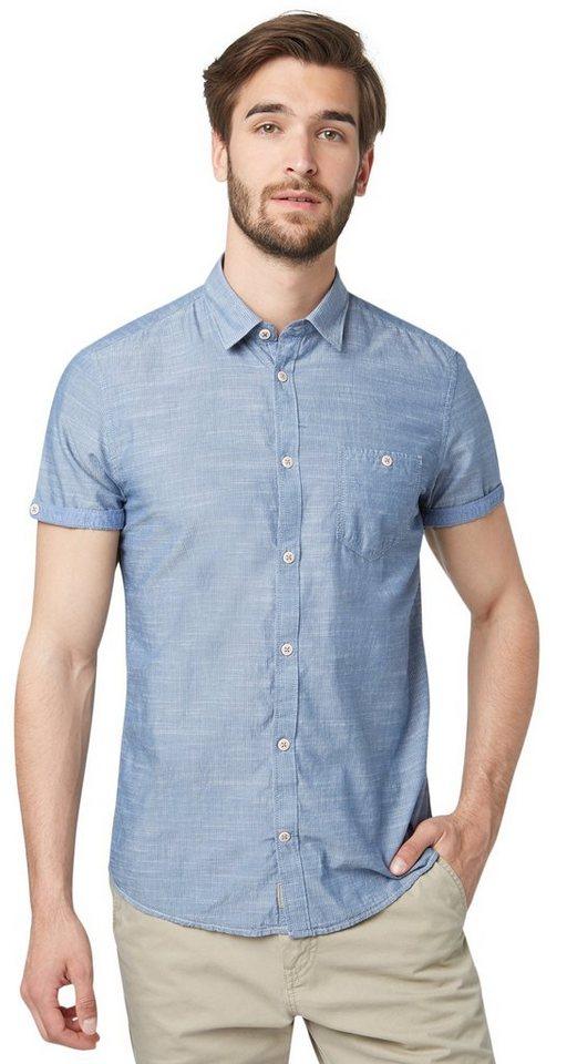 TOM TAILOR Hemd »Kurzarm-Hemd mit Streifen-Struktur« in ensign blue