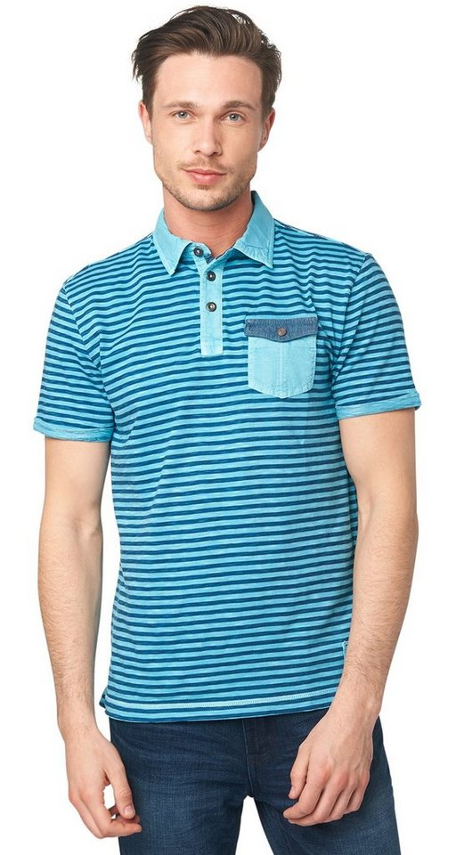 TOM TAILOR Poloshirt »gestreiftes Polo-Shirt mit Stoffmix« in coastal blue