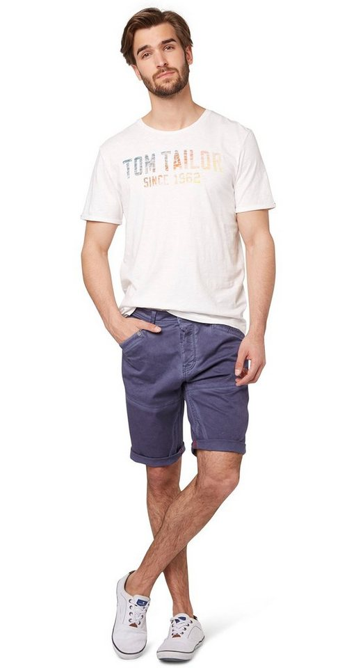 TOM TAILOR Shorts »Chino-Bermuda mit Waschung« in steal blue