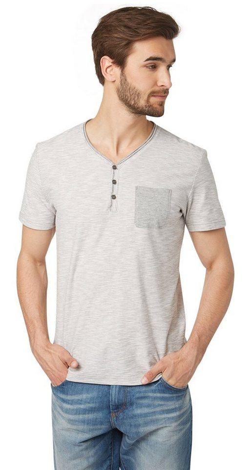 TOM TAILOR T-Shirt »Serafino-Shirt mit Streifen« in titanium grey