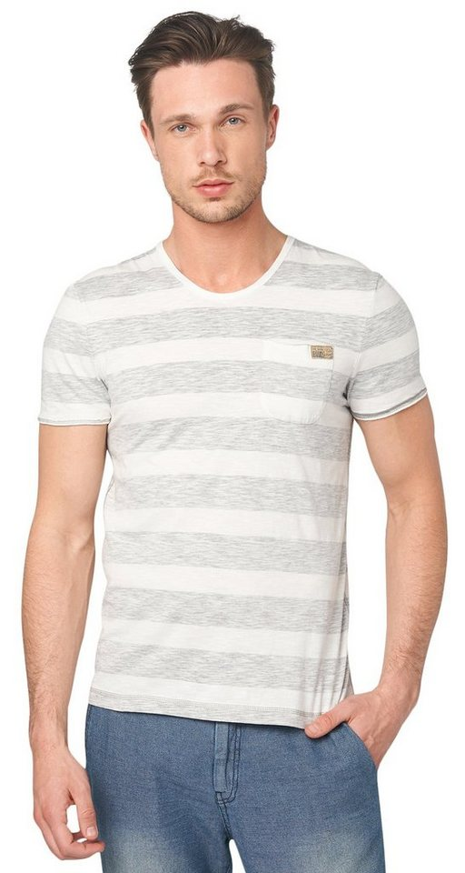 TOM TAILOR T-Shirt »Streifen-Shirt im Used-Look« in titanium grey