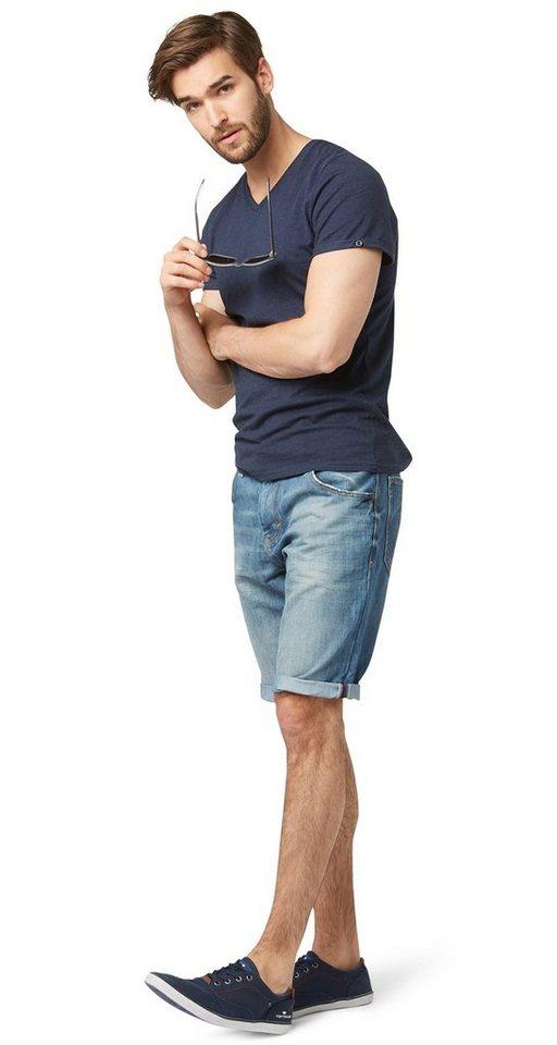 TOM TAILOR Shorts »Used-Jeans in Bermuda-Länge« in light stone wash den