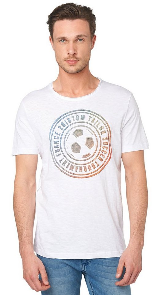 TOM TAILOR T-Shirt »football printed tee« in white