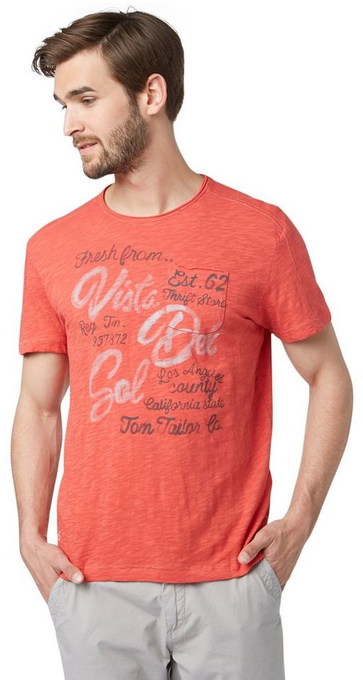 TOM TAILOR T-Shirt »T-Shirt mit Schrift-Print« in dusty mineral red