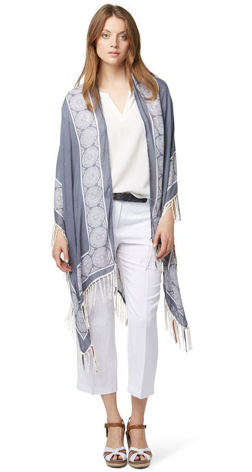 TOM TAILOR Schal »fringed poncho« in steal blue