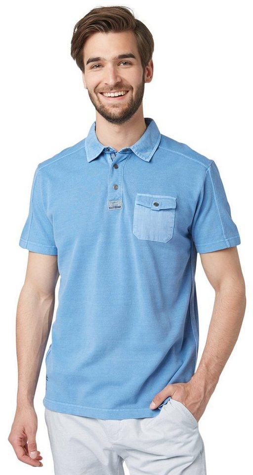 TOM TAILOR Poloshirt »Piquè Polo mit Artwork am Rücken« in even blue