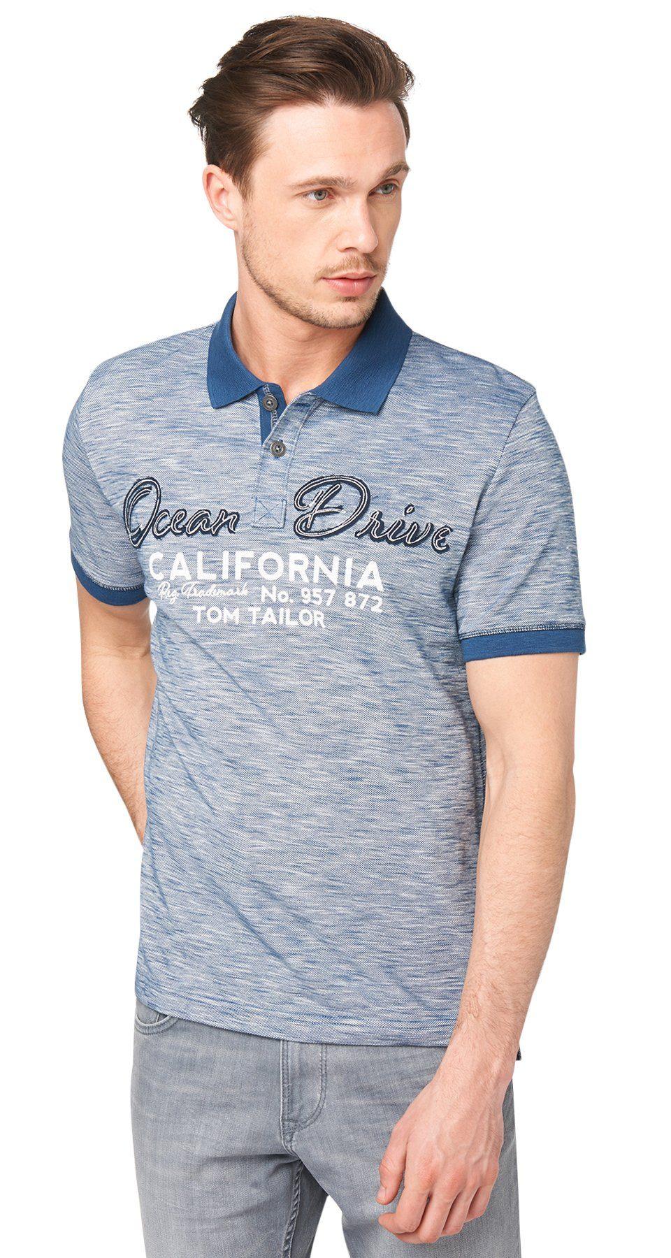 TOM TAILOR Poloshirt »Melange-Polo mit Applikation«