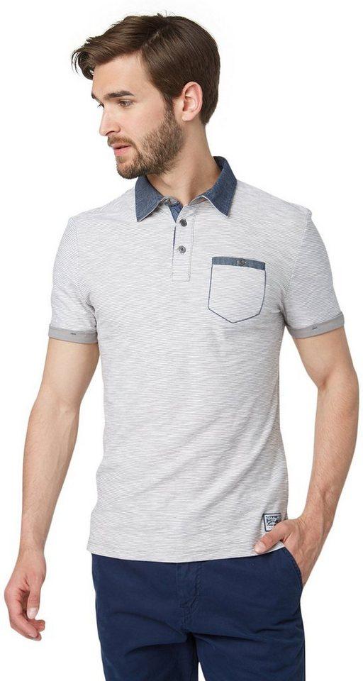 TOM TAILOR Poloshirt »Ringel-Polo mit Details« in titanium grey