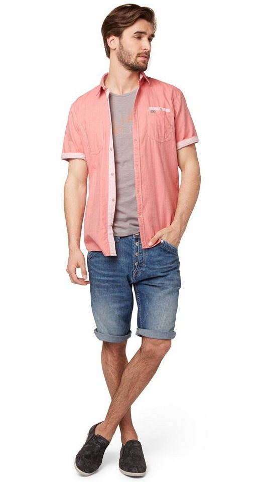 TOM TAILOR Shorts »Jeans-Bermuda im Used-Look« in light stone wash den