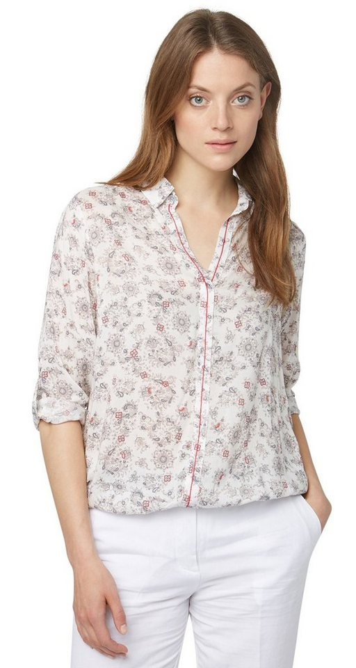 TOM TAILOR Bluse »feminine Bluse mit Muster« in whisper white