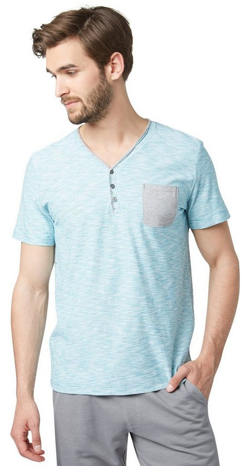 TOM TAILOR T-Shirt »Serafino-Shirt mit Streifen« in Teal Blue
