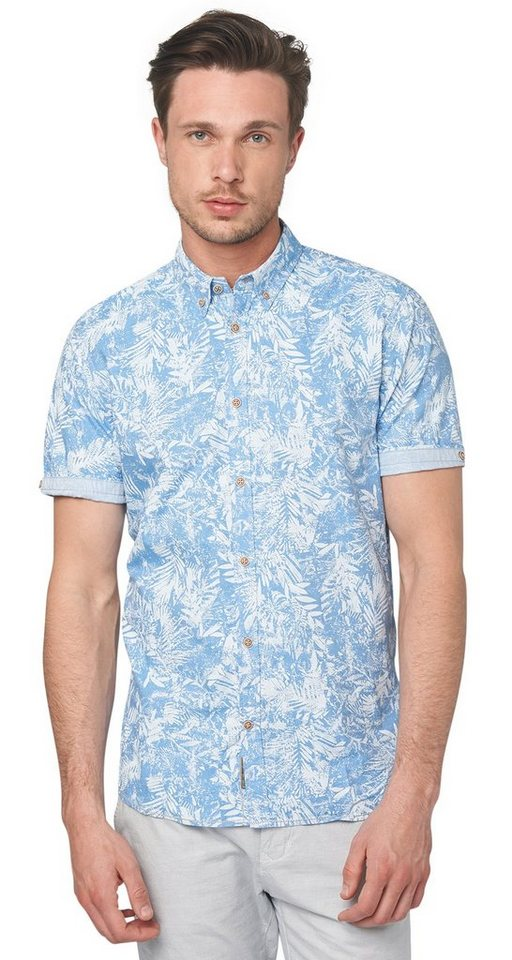 TOM TAILOR Hemd »Button-Down-Hemd mit Palmen-Print« in even blue