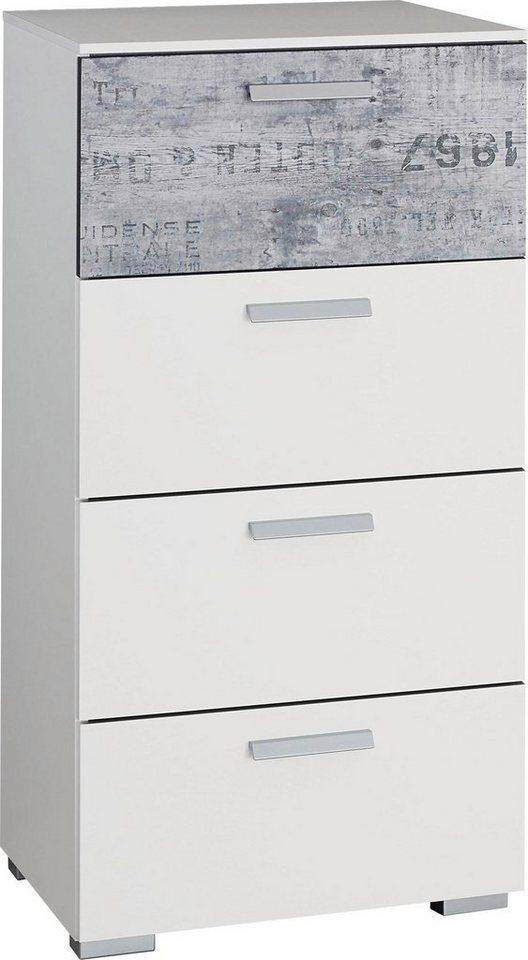 rauch Schubkastenkommode in weiß mit grauem Vintage-Dekor
