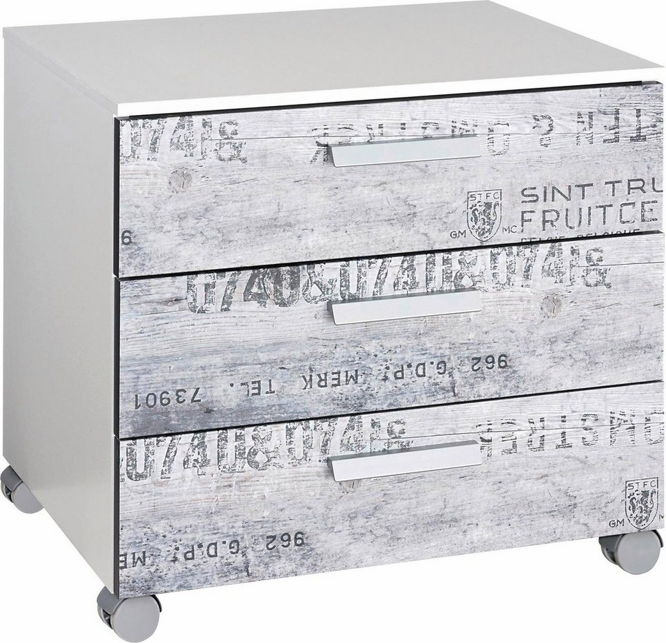 rauch Rollcontainer in weiß mit grauem Vintage-Dekor