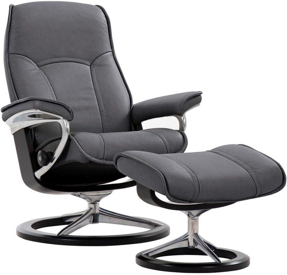Stressless® Set: Relaxsessel mit Hocker »Senator« mit Signature Base, Größe L, mit Schlaffunktion in grey