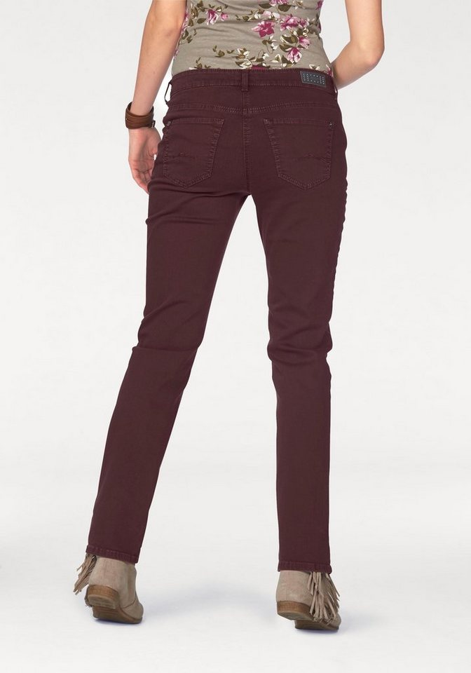 MAC 5-Pocket-Jeans »Angela« Die Schmale in bordeaux