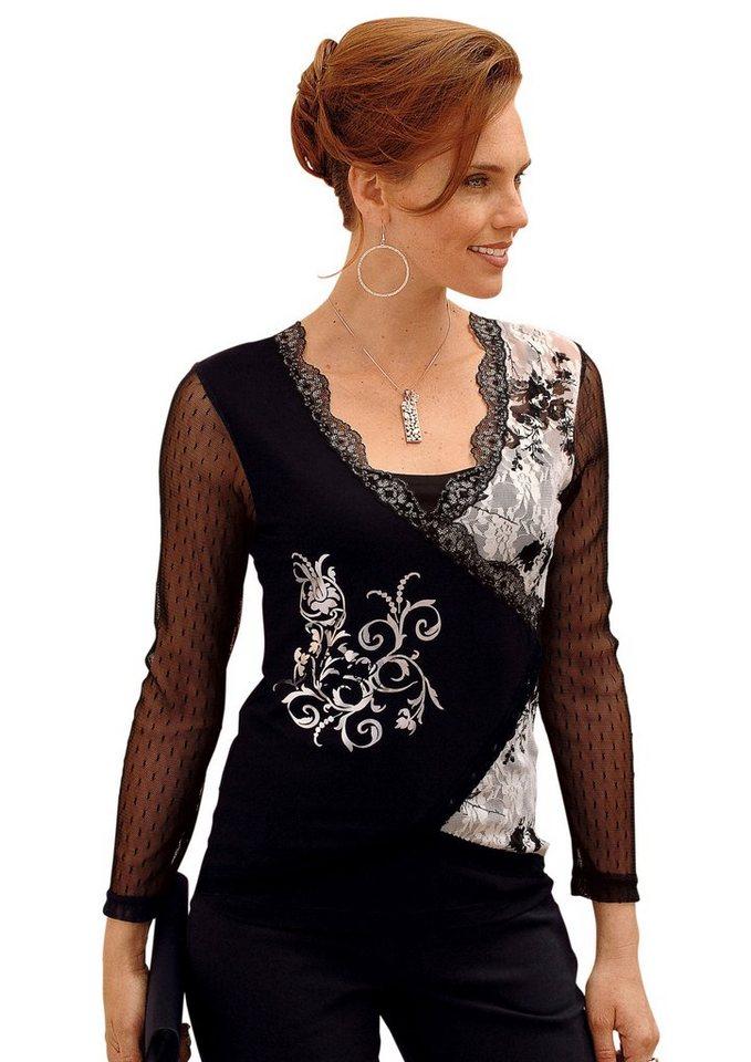 Lady Shirt mit Blütendruck im Vorderteil in schwarz-bedruckt