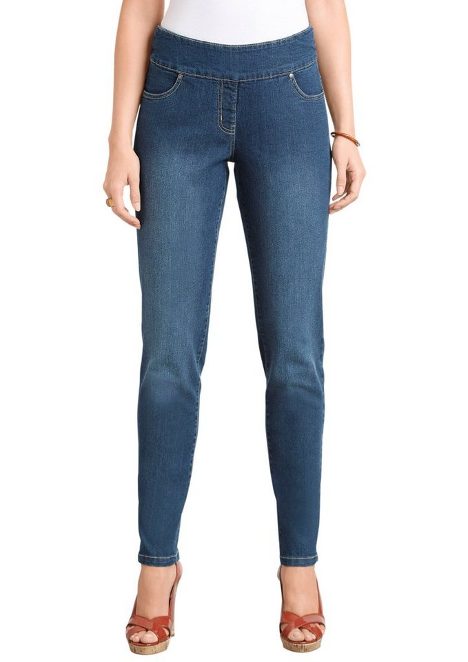 Classic Basics Jeans mit fester Bundpatte vorne in blue-stone-washed